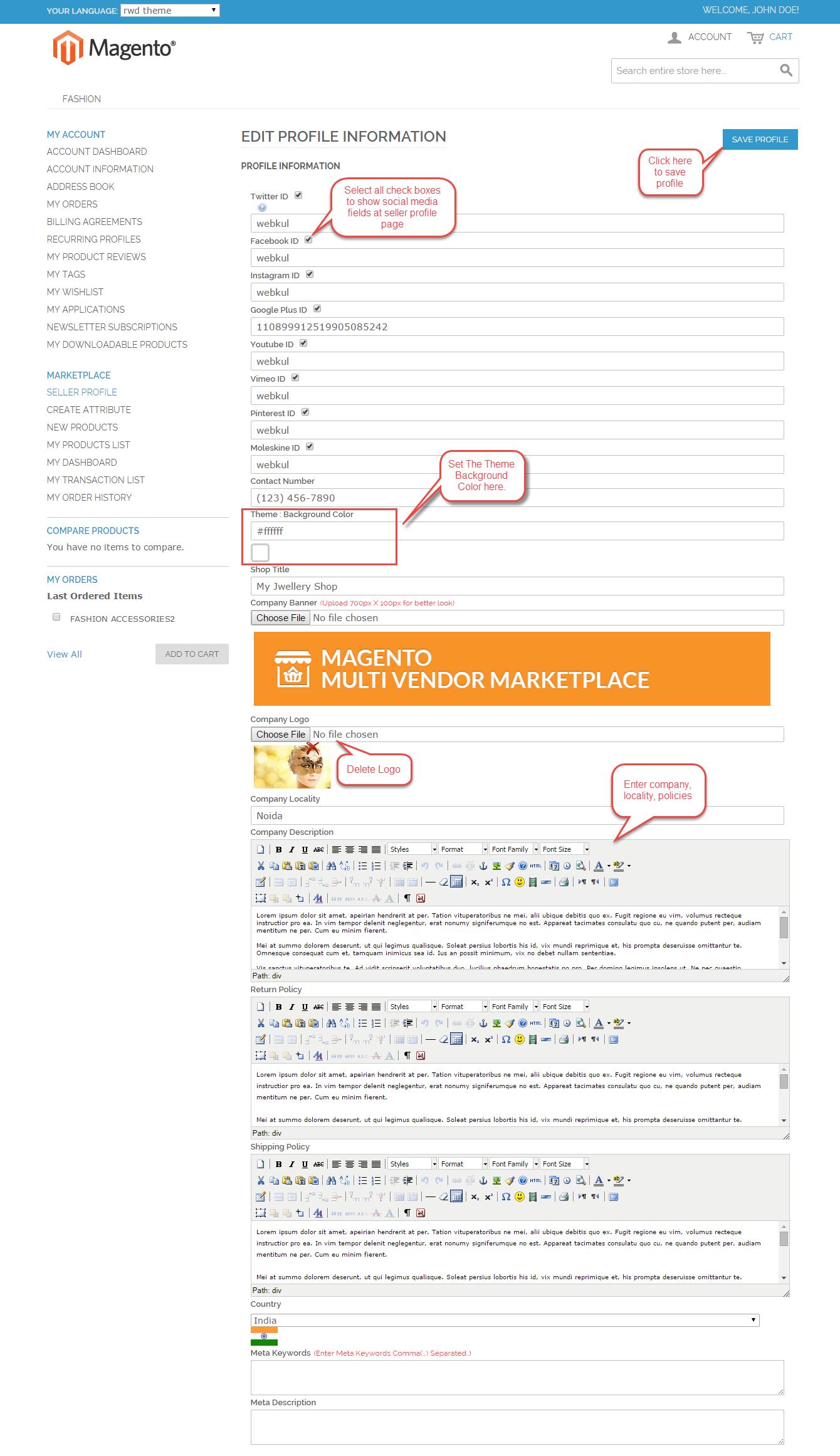 seller profile