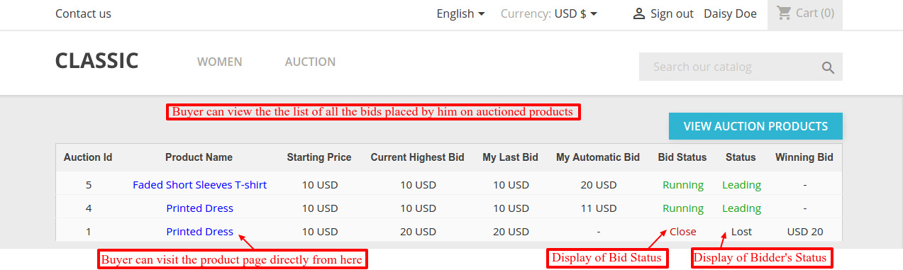 auction product list on customer dashboard