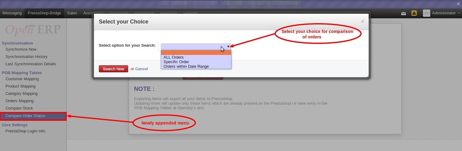 Prestashop-OpenERP Order Status Comparison choice selection screen
