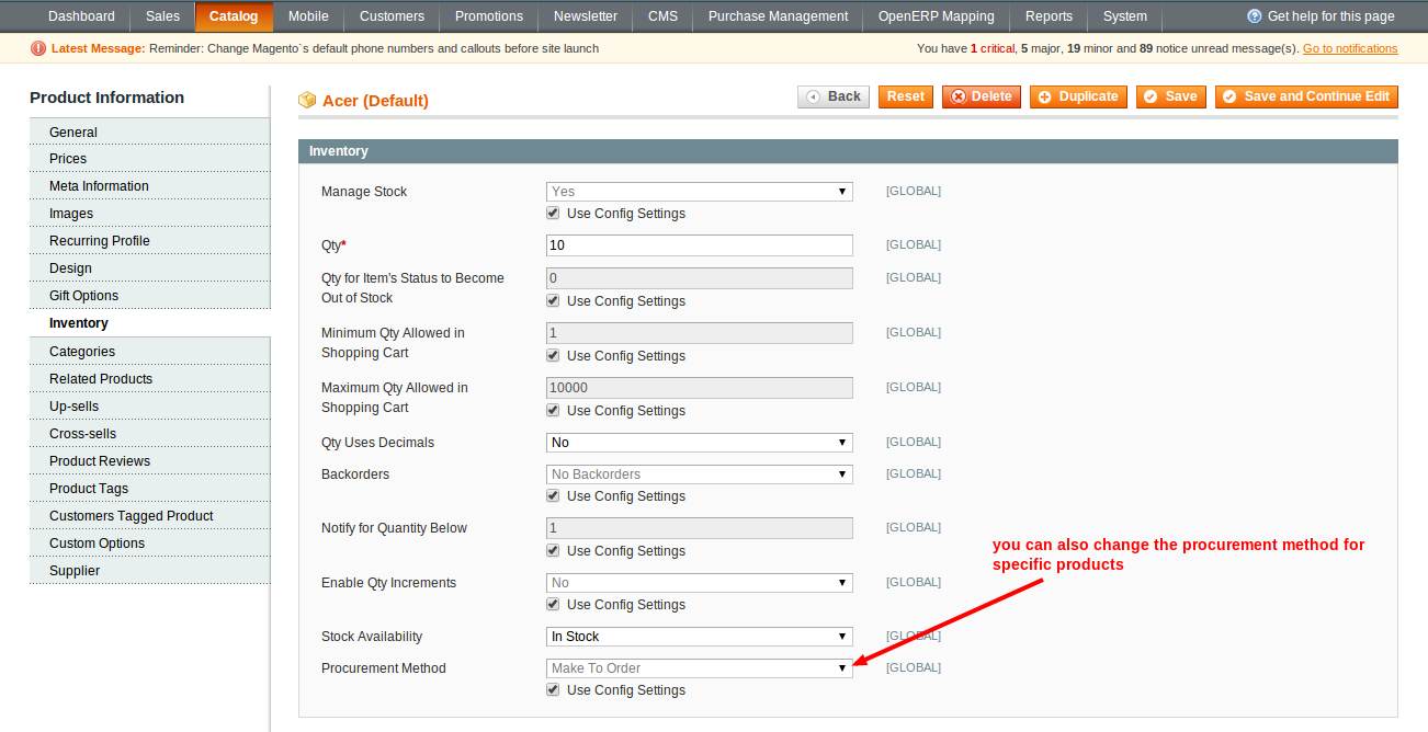 Acer Manage Products Catalog Magento Admin
