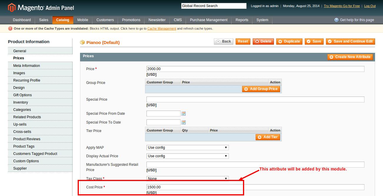 Pianoo Manage Products Catalog Magento Admin