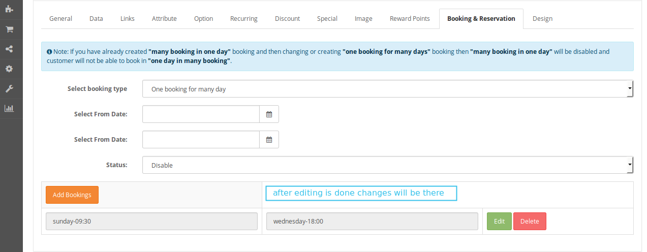 edit booking and reservation