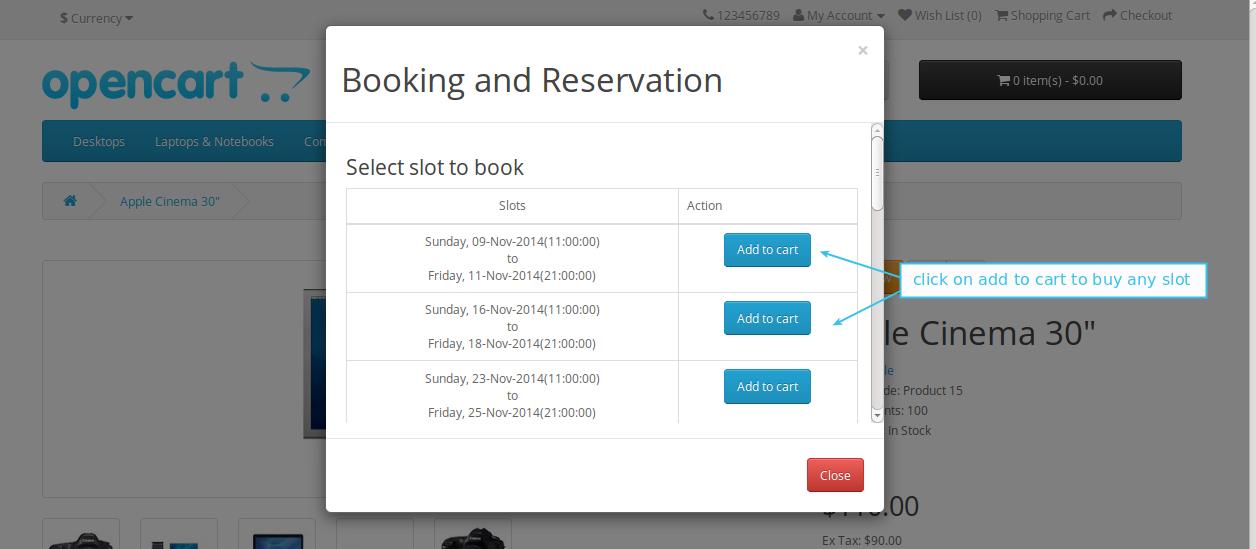 Select booking slot