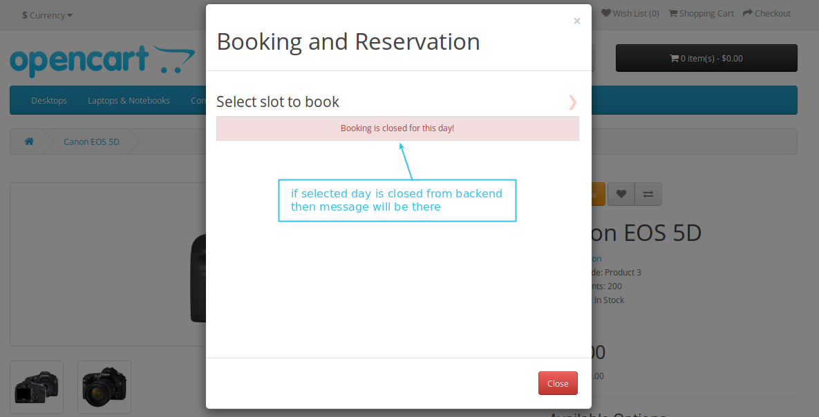 Closed booking error message
