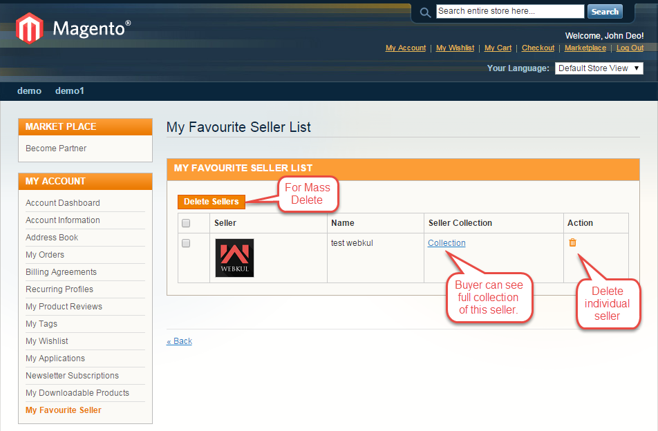 Magento Marketplace Favourite Seller