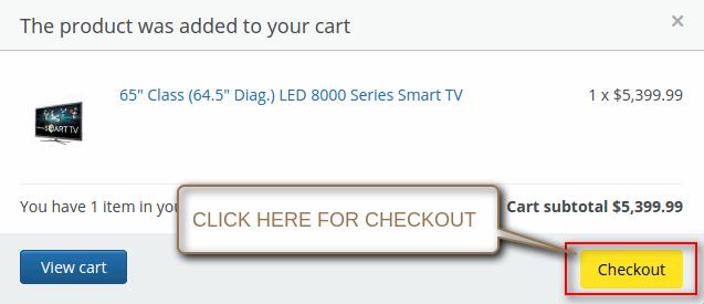 "Click on ""Checkout"" option"