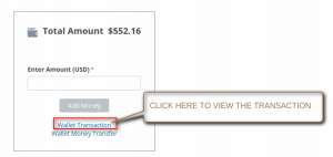 """Click on """"Wallet Transaction"""" to view the list of transactions done by wallet"""