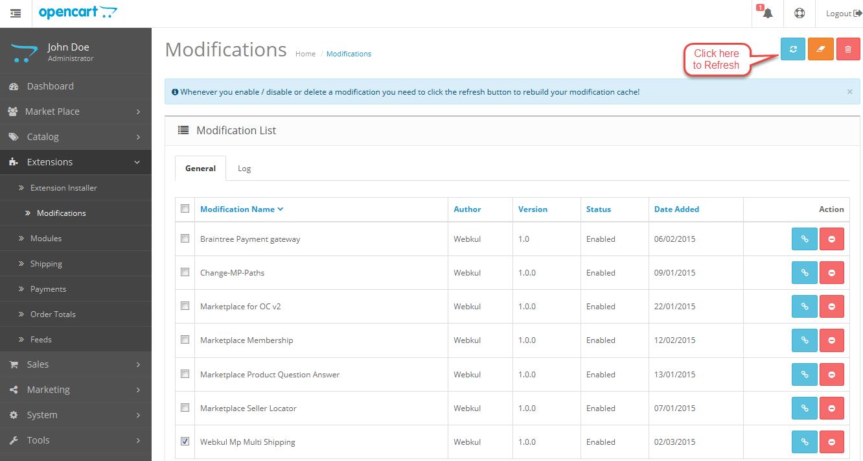 Opencart Version2 Marketplace Multi Shipping Modification