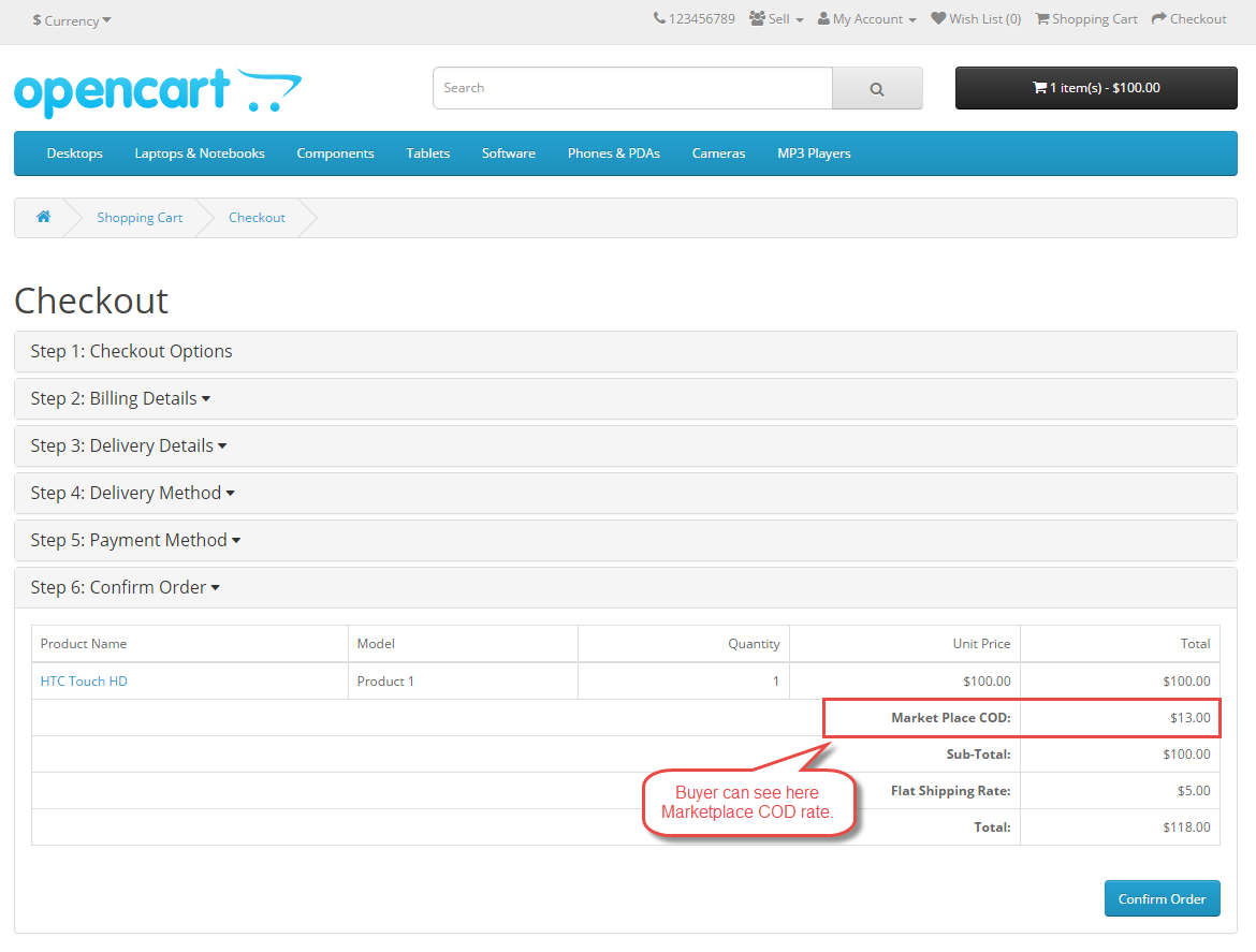 Opencart Marketplace COD at checkout2