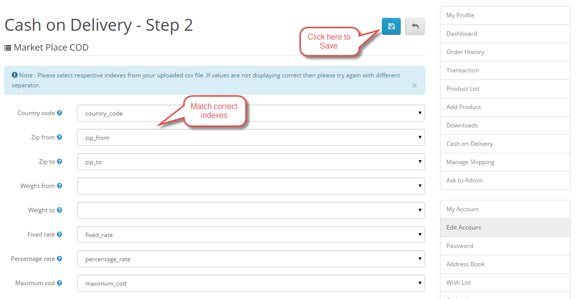 Opencart Marketplace Cash On Delivery CSV Step2
