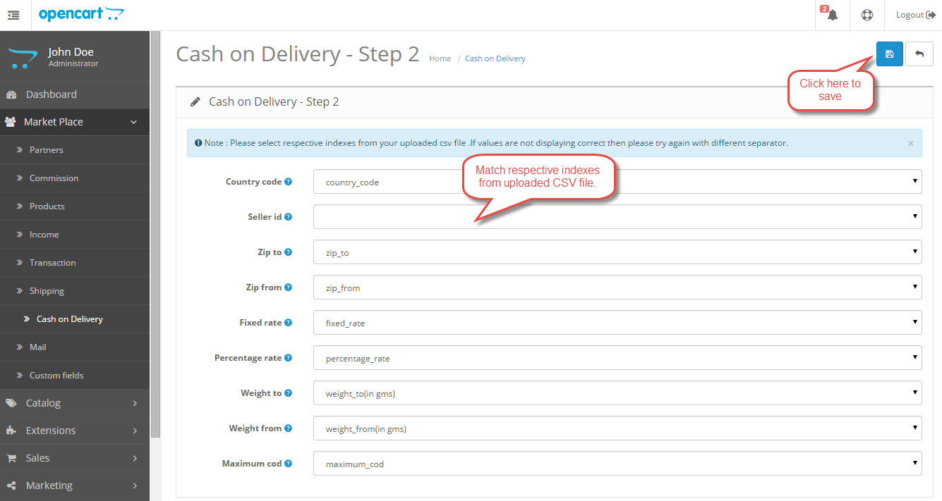 Opencart Marketplace COD Admin Upload CSV2