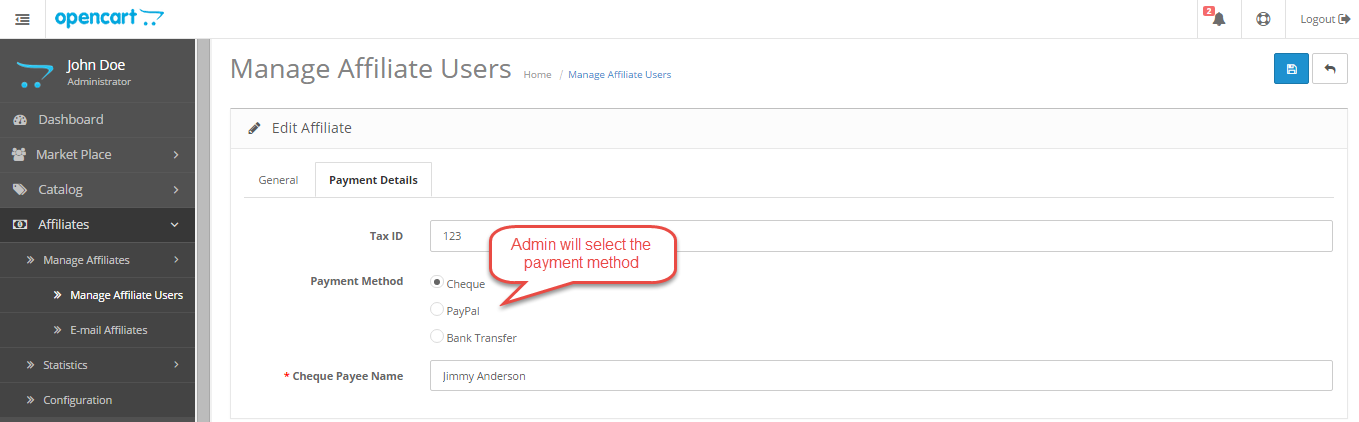 manage affiliates users