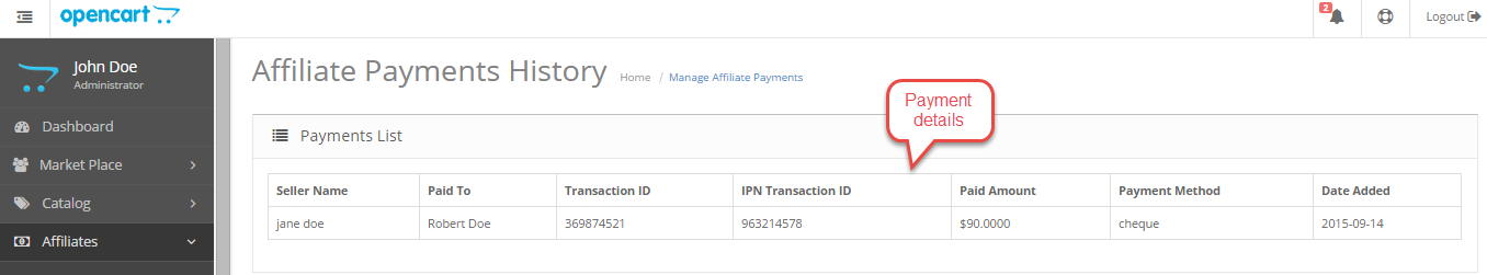 affiliate payment history