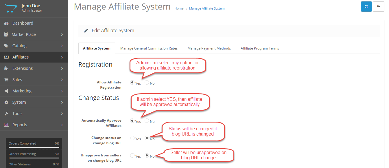 affilate system settings Opencart Marketplace Affiliate System