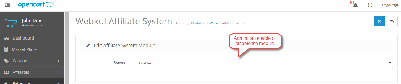 module enable Opencart Marketplace Affiliate System