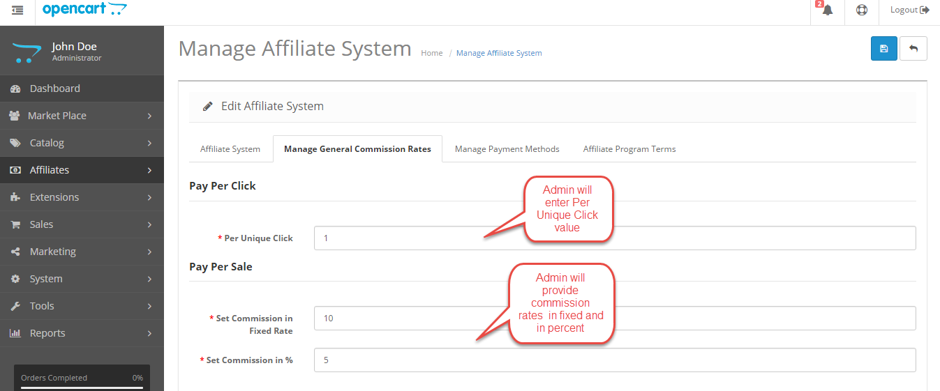 affiliate commssion sales Opencart Marketplace Affiliate System