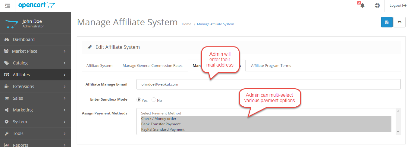 manage payment methods Opencart Marketplace Affiliate System