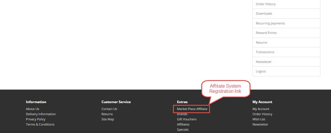 registration link Opencart Marketplace Affiliate System