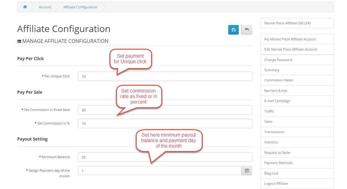 affiliate configuration