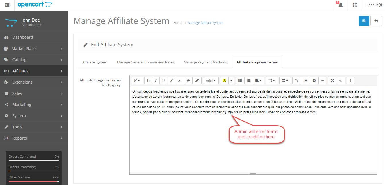 affiliate program terms