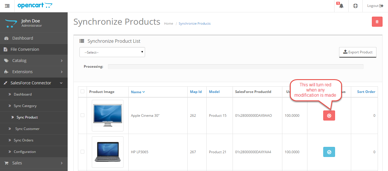 synchronize products