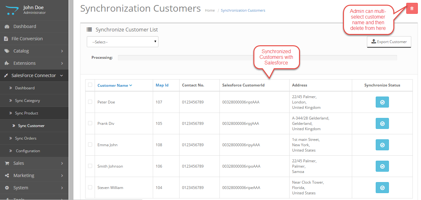 sync customer with salesforce