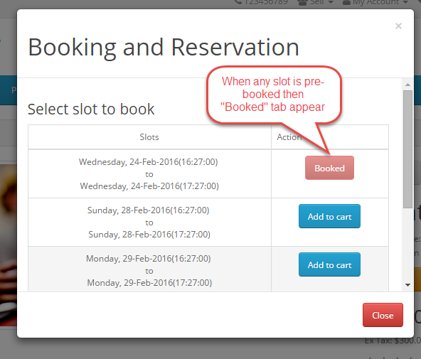 booked notification