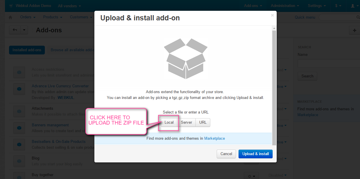 upload and install