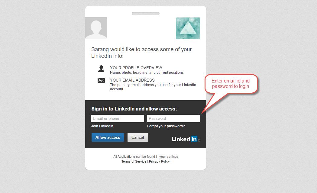 Social Login By LinkedIn