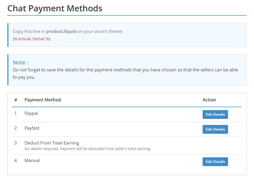 Chat Payment Methods Admin • Multivendor MarketPlace