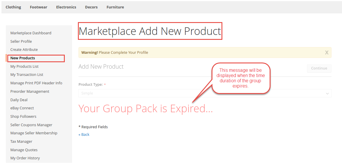 Marketplace Seller Groups for Magento 2_group pack expired