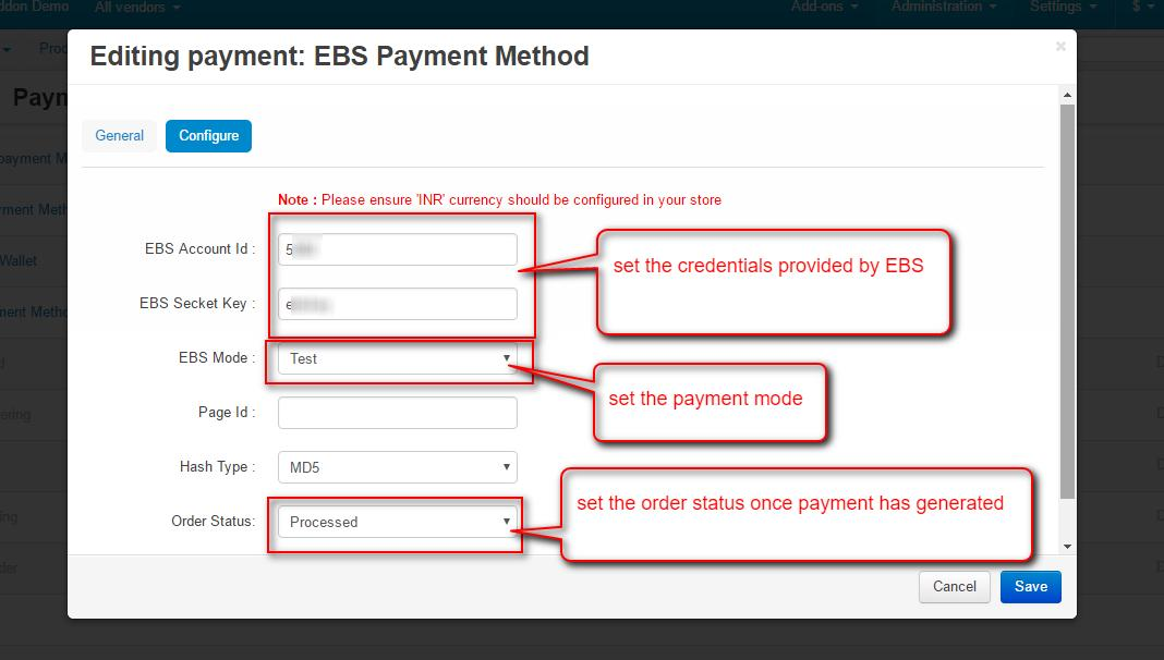 Administration -- Payment methods - Administration panel