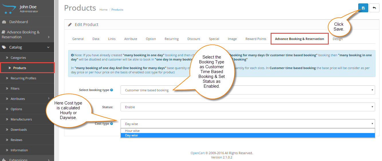 Customer Time Based Booking