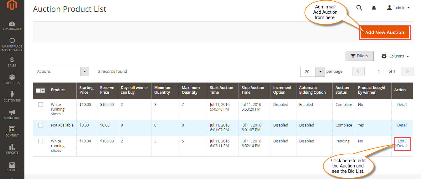 Manage Auction At Admin backend Panel