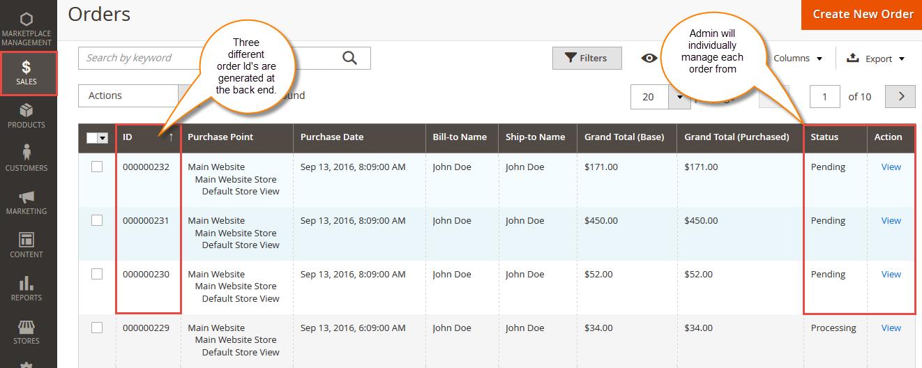 Admin Management For Marketplace Split Order For Magento2