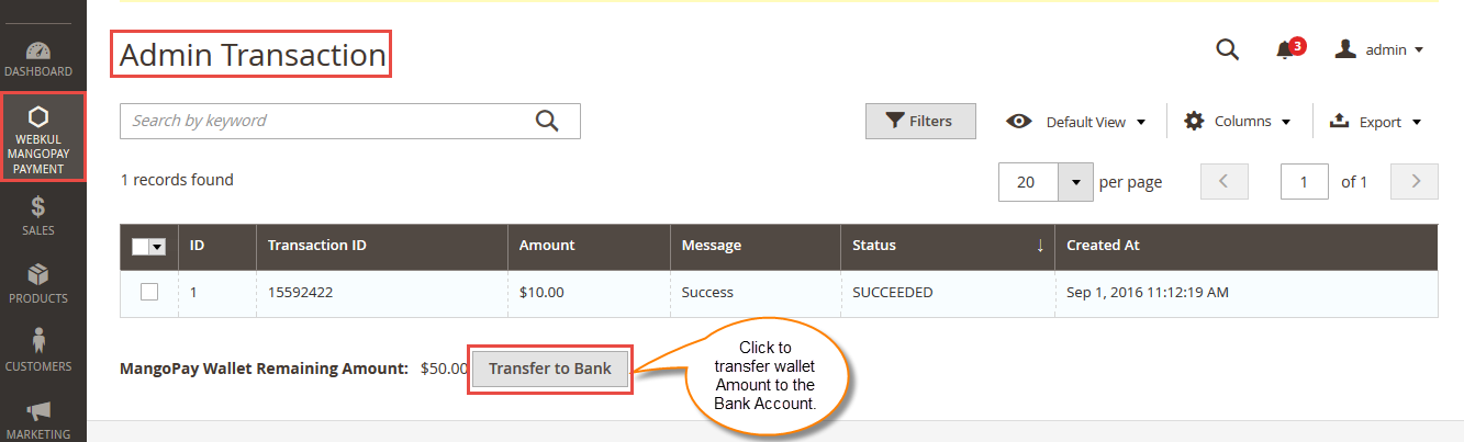 MangoPay Money Transfer Process from Administrator's(Escrow) Wallet to Bank