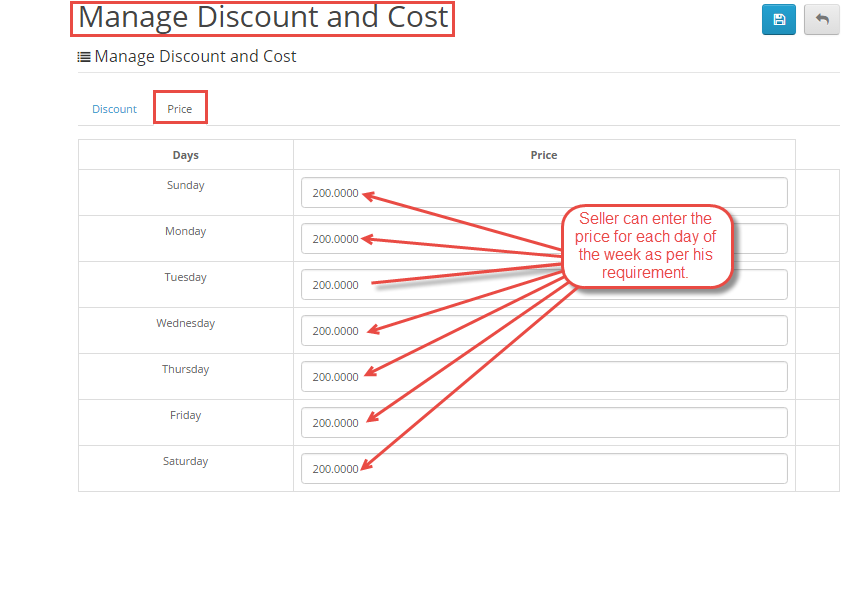 Seller day wise discount settings