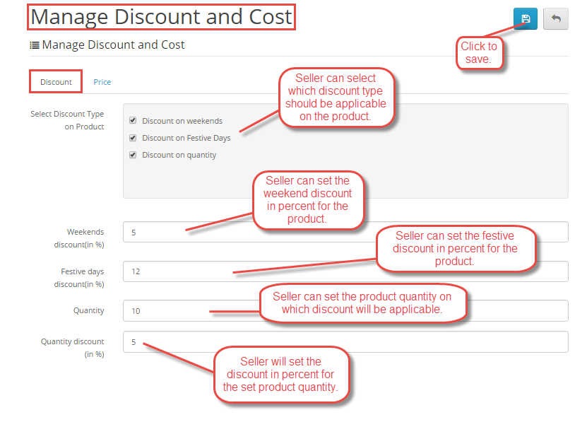 Day wise discount setting