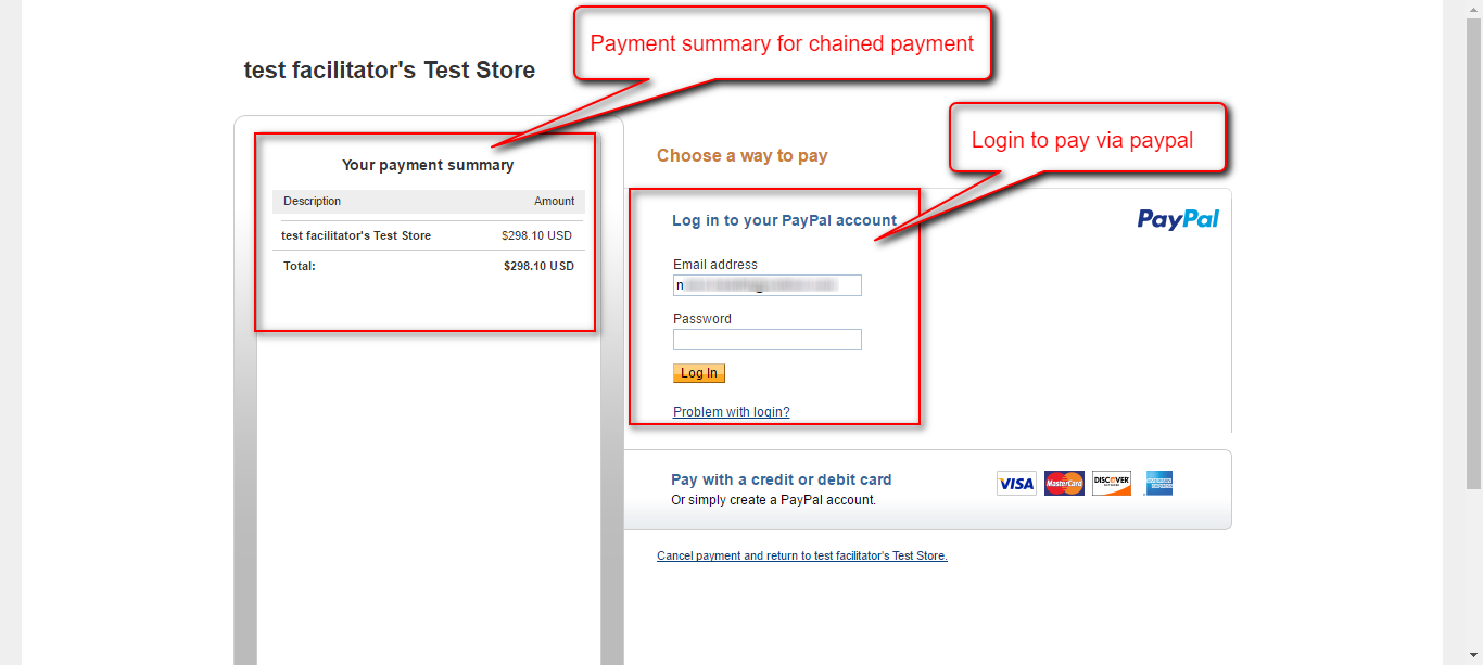 chained payment view