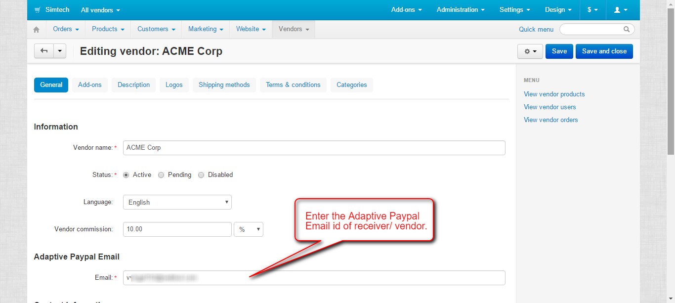 Vendor Adaptive Paypal Account