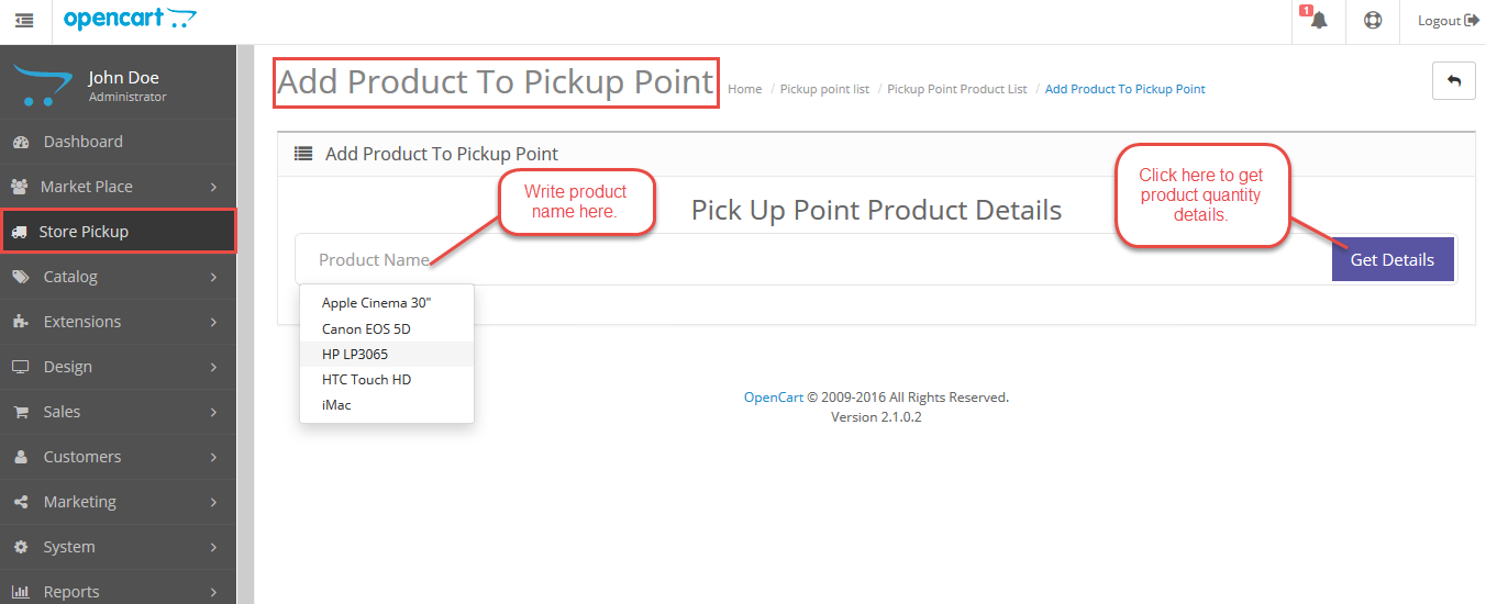 Configuration Of Marketplace Opencart Store Pickup
