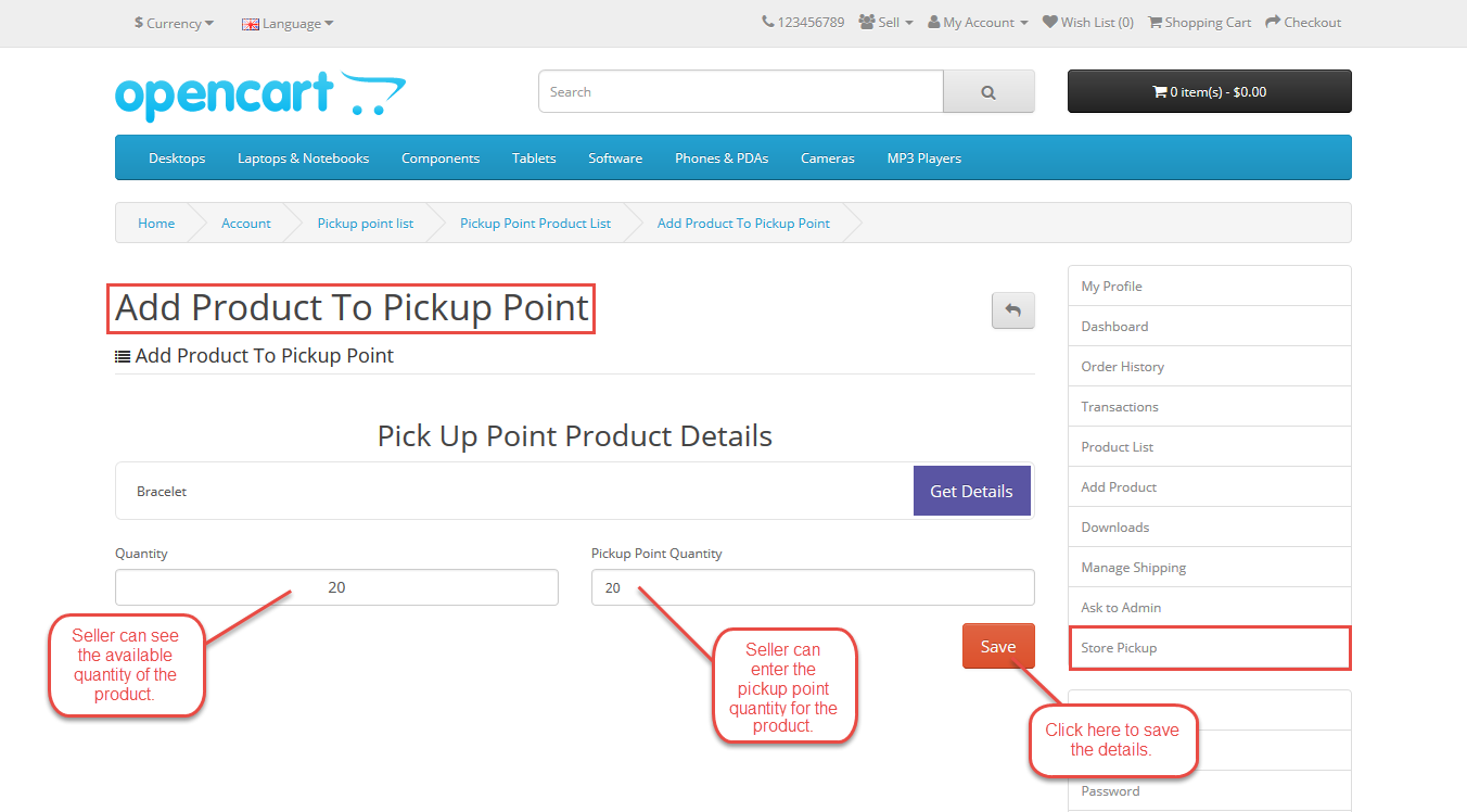 Seller - Configuration Of Marketplace Opencart Store Pickup
