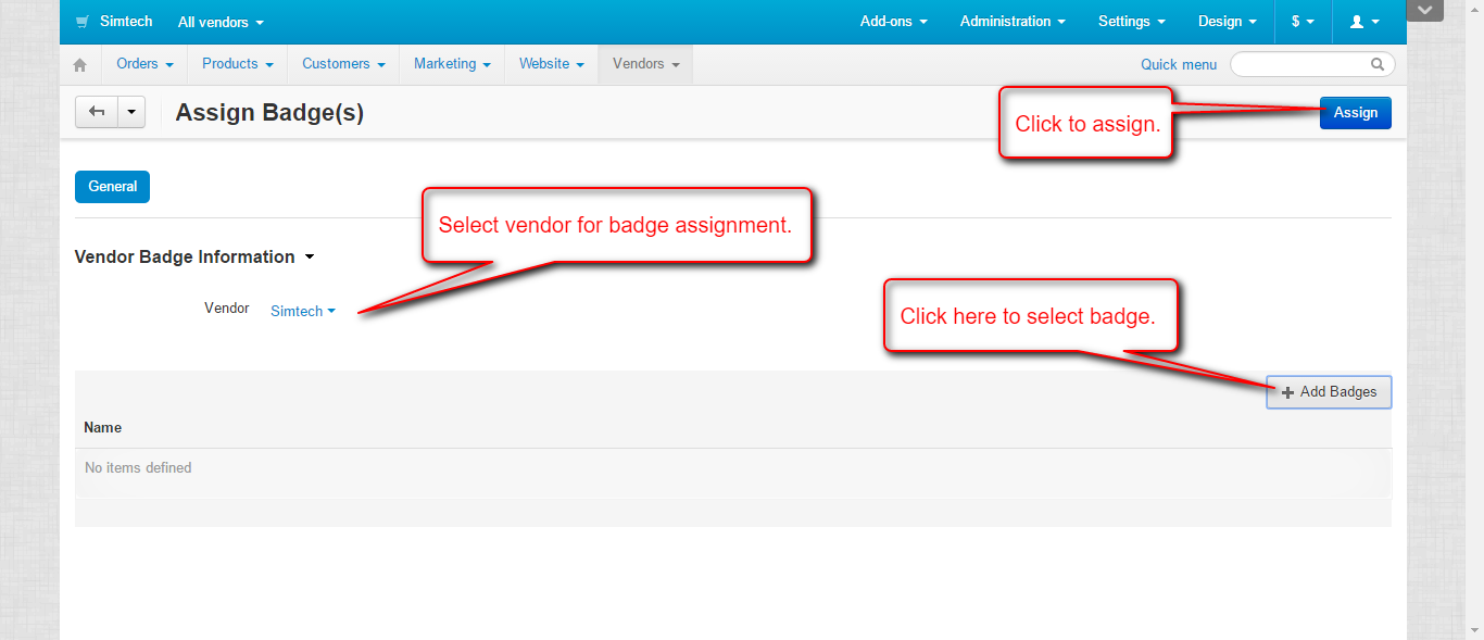 assign badge manually