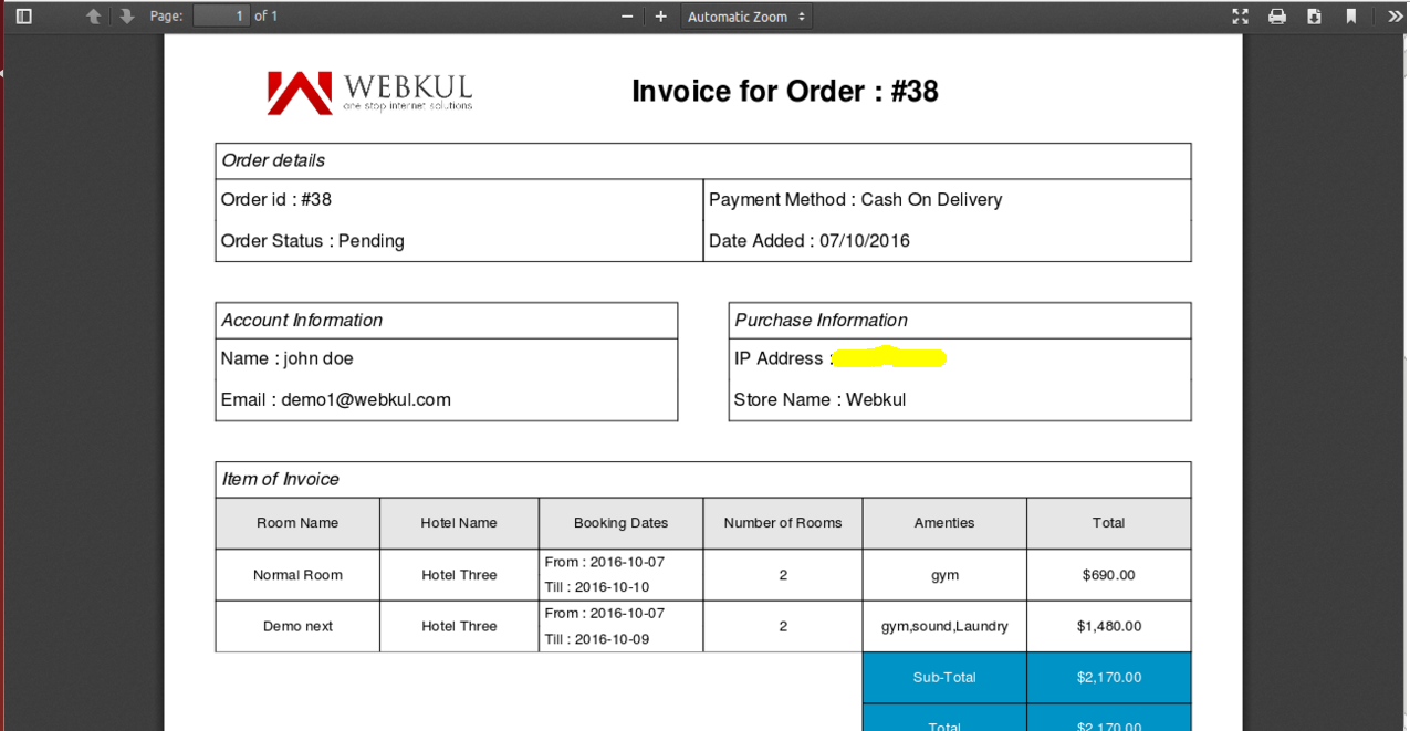 How to generate simple pdf invoice using FPDF library