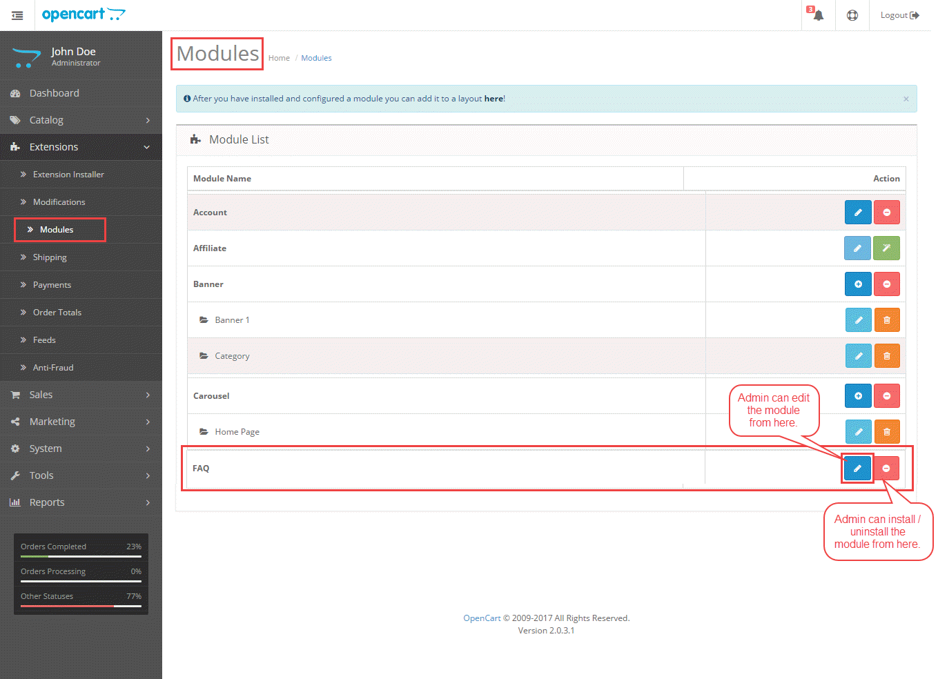 Opencart FAQ