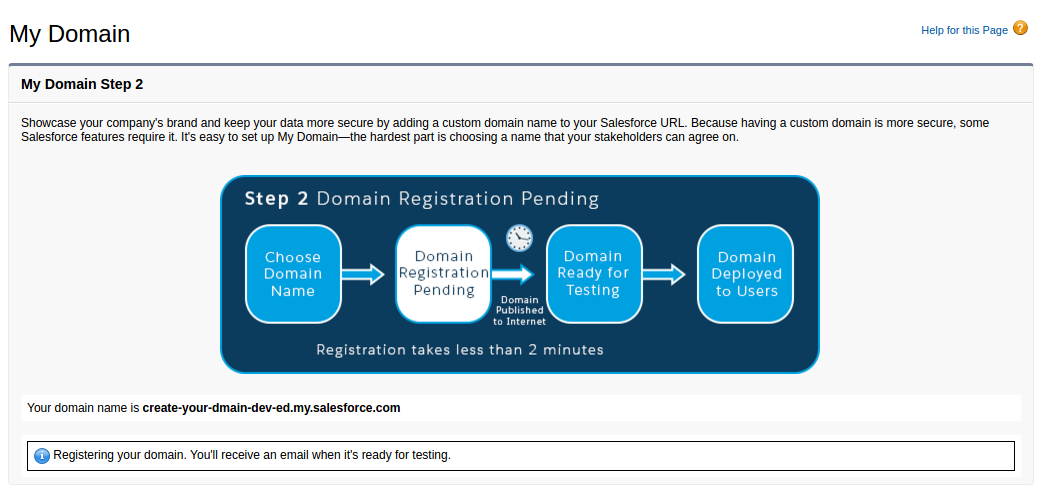 register your domain in salesforce