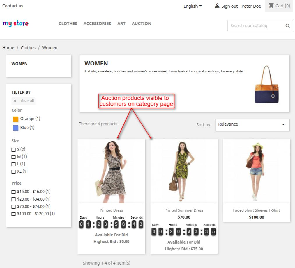 auction products on the category page of the shop