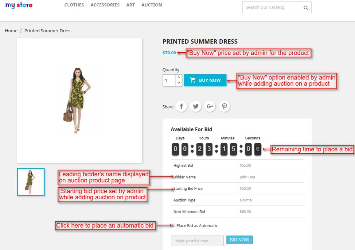 auction product page