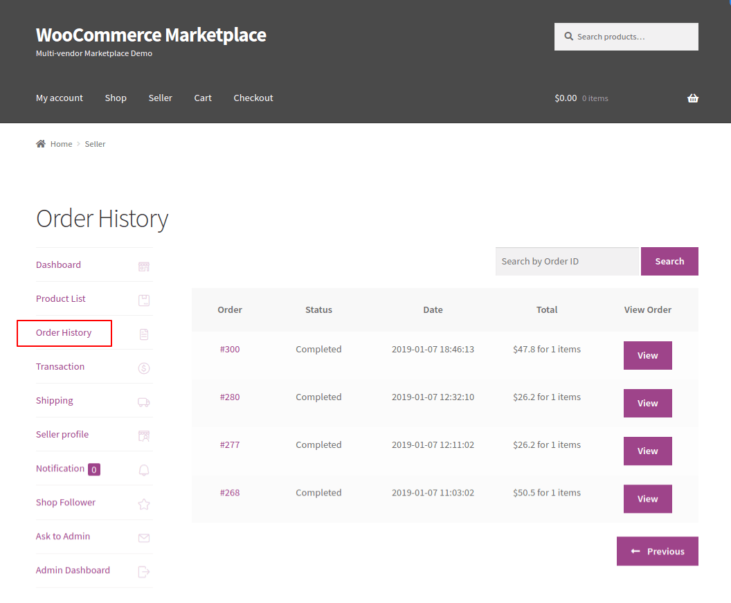 webkul-woocommerce-multi-vendor-marketplace-seller-order-history-page
