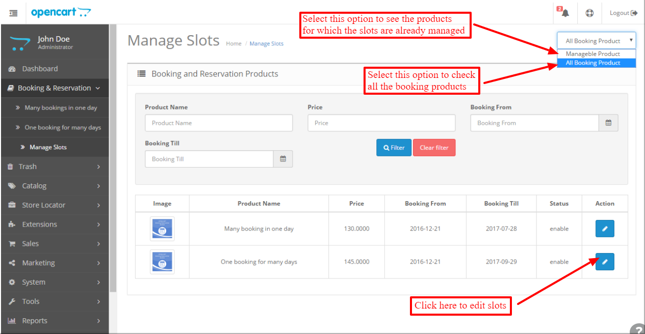 Display all booking products with edit slots